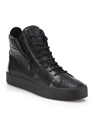 dbdbc21db5fd2 Giuseppe Zanotti - Snake-Embossed Leather High-Top Sneakers - saks.com