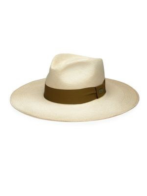 BARBISIO Woven Straw Panama Hat in Natural White