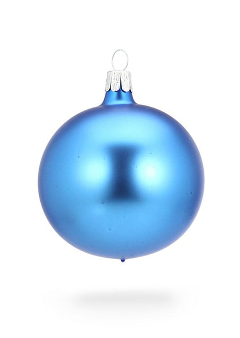 """Image of Ethereal hand-blown glass ornament in cyan, textured and jeweled.2.75""""W x 2.75""""H.Glass. Spot clean. Imported."""