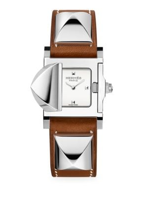 HERMÈS WATCHES Médor, Stainless Steel & Leather Strap Watch in Natural