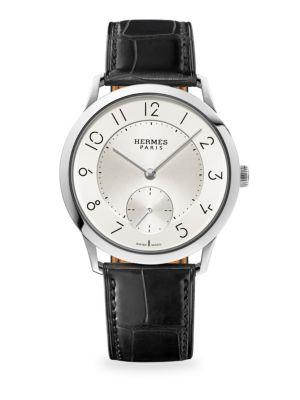 HERMÈS WATCHES Slim D'Hermès Manufacture, Stainless Steel & Alligator Strap Watch in Matte Black