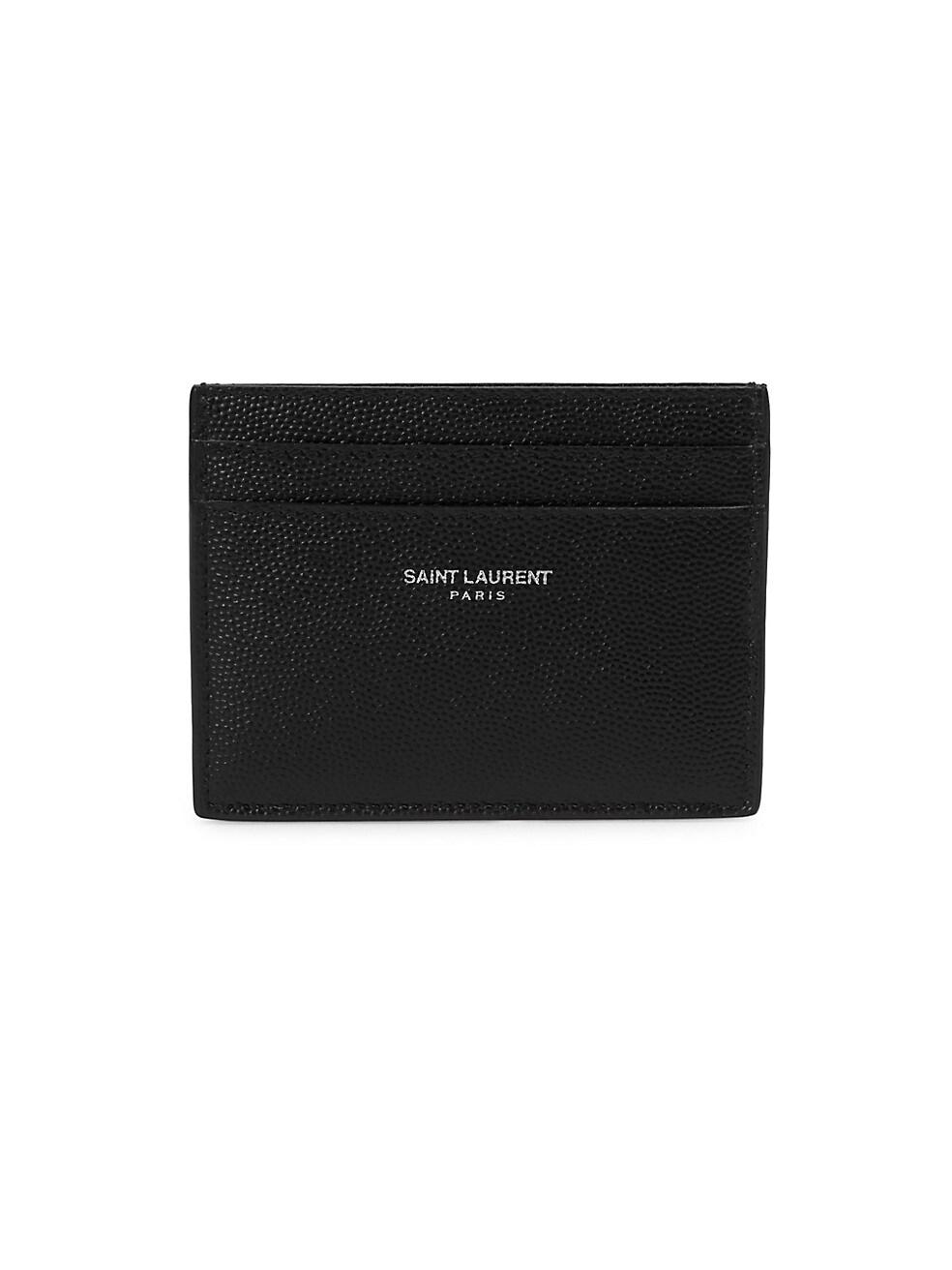 생 로랑 Saint Laurent Grain Leather Card Case,BLACK