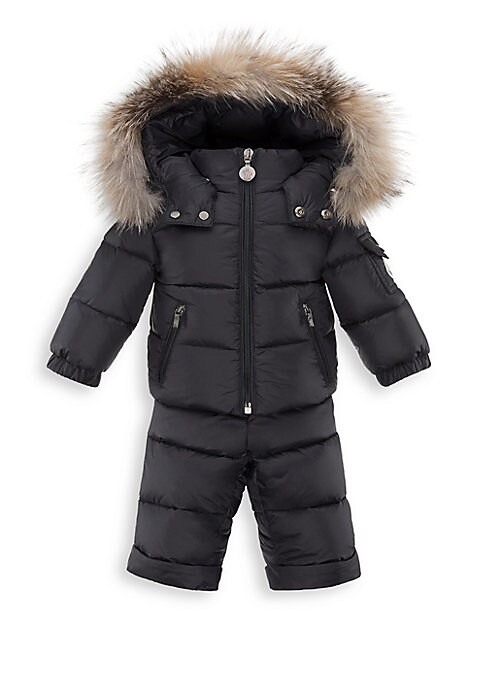 Image of Keep your little one toasty and warm on and off the slopes with this down-filled snowsuit set, featuring a quilted jacket with removable fur-trimmed hood and matching pants. Jacket. Removable hood with fur trim and snap closure. Long sleeves with elastici