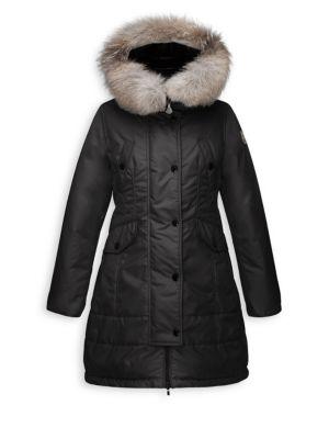 Girl's Arrious Fur-Trimmed Long Coat plus size,  plus size fashion plus size appare