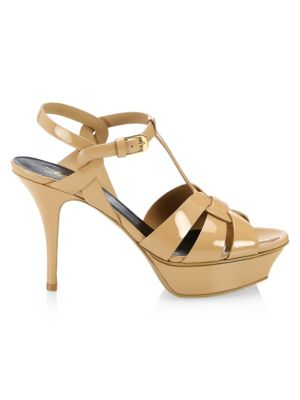 Tribute Pantent Leather Platform Sandals in Nude