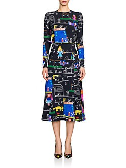 Dolce & Gabbana - Stretch Cady Drawing-Print Dress