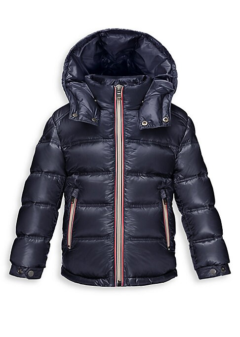 Image of Edged in sporty contrast trim, a down-filled essential to keep your little one stylish and warm, featuring a removable hood for customized protection. .Removable hood with snap closure. Stand collar. Long sleeves with snap cuffs. Zip front closure. Zip sl
