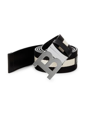 B Buckle Canvas Leather Belt by Bally