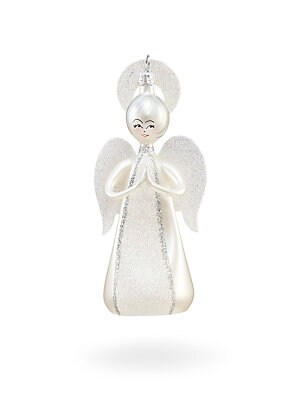 "Image of Angelic glass ornament with glitter for added appeal. Height, 5"" Glass Includes authenticity card Made in Italy. Gourmet Food & - Trim A Home. De Carlini."