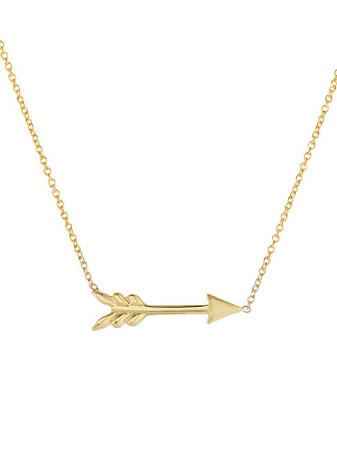 """Image of From the Tiny Treasure Collection. Delicate 14k yellow gold necklace detailed with a petite arrow pendant.18k yellow gold. Length, about 16"""" with a 2"""" extender. Lobster clasp. Imported. Please note: Fine jewelry is available for Standard Delivery only. Si"""
