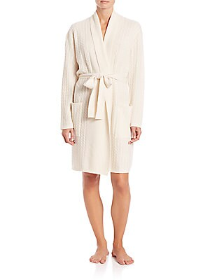 "Image of Essential robe cast in supremely soft cashmere Shawl collar Drop shoulders Long sleeves Self-tie closure Patch pockets About 57"" from shoulder to hem Cashmere Dry clean Imported Model shown is 5'10"" (177cm) wearing size Small. Lingerie - Cashmere. Arlotta"