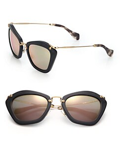 Miu Miu Semi-rimless Cat Eye Sunglasses