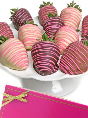 Pink Belgian Chocolate Covered Strawberries