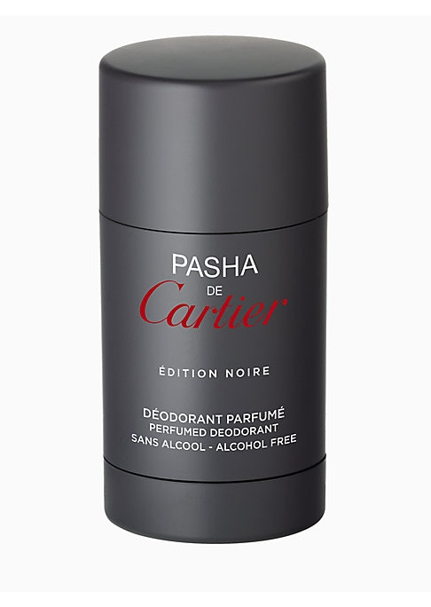 Image of An alcohol-free deodorant stick capturing the intensity of the Pasha de Cartier Edition Noire scent. A non-greasy, refreshing and soothing formula for sensitive skin that leaves your skin delicately scented. 2.5 oz. Made in France.