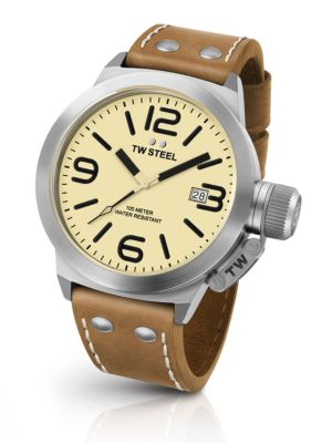 TW STEEL Canteen 45Mm Stainless Steel & Leather Strap Watch in Tan/ Cream/ Silver
