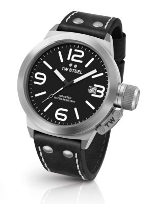 TW STEEL Canteen 45Mm Stainless Steel & Leather Strap Watch in Black/ Silver