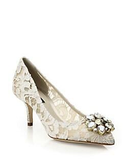 Dolce & Gabbana - Embellished Lace Point-Toe Pumps
