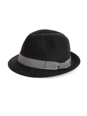 "Image of Contrasting ribbon trim accents the brim of this timeless fedora style. .Brim, 2"".Wool. Spot clean. Made in Italy."