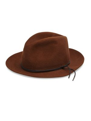 "Image of A wide-brim and tie detail defines this effortless fedora style. .Brim, 2"".Felted rabbit fur. Spot clean. Made in Italy."