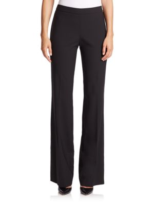 "Image of Clean lines and a sleek bootcut silhouette ensure the versatility of these timeless stretch wool pants. Banded waist. Flat front. Side zip. Back waist dart. Lined. Rise, about 8"".Inseam, about 35"".Virgin wool/elastane. Dry clean. Imported."