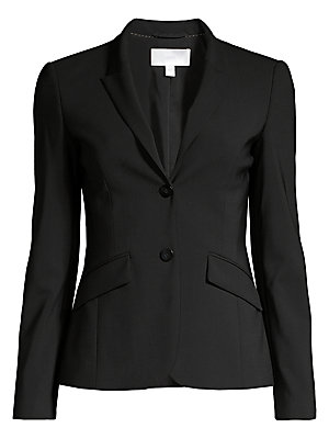 """Image of An essential mid-length jacket tailored from fine stretch wool. Notched collar Long sleeves Double-button front Shaping seams Flap pockets Lined About 24"""" from shoulder to hem Wool/elastane Dry clean Imported. Modern Collecti - Boss Black > Saks Fifth Ave"""