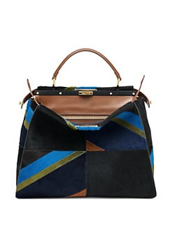 Fendi - Peekaboo Large Multicolor Geometric Calf Hair Satchel