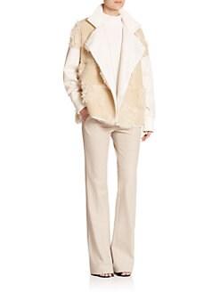 Tibi - Akiak Faux Fur & Knit Coat