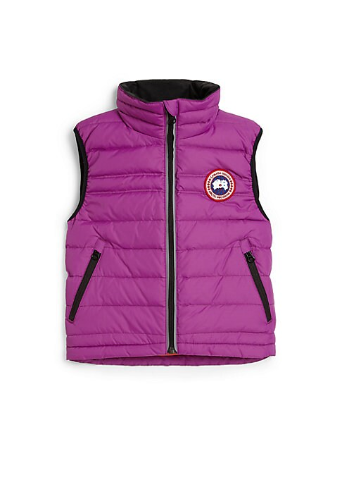 Image of A must-have for her cold weather wardrobe, this down-filled vest is lightweight enough for playtime yet warm enough to keep her cozy. Stand collar. Sleeveless. Front zip closure. Signature applique at chest. Zip pockets.625 fill power. Fully lined. Nylon.