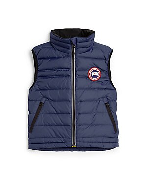 Image of A must-have for her cold weather wardrobe, this down-filled vest is lightweight enough for playtime yet warm enough to keep her cozy. Stand collar Sleeveless Front zip closure Signature appliqué at chest Zip pockets 625 fill power Fully lined Nylon Fill: