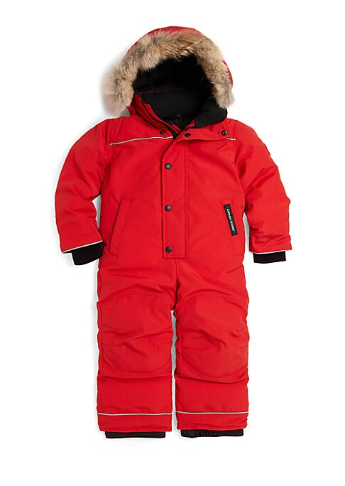 Image of He'll hit the slopes in style with this cute and cozy snowsuit, featuring a warm down-blend fill, removable hood and plush fur trim for added luxury. Removable hood with removable fur trim. Long sleeves with recessed knit cuffs. Concealed front zip closur