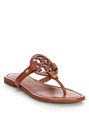 a9cbbbfd4 Tory Burch - Miller Leather Logo Thong Sandals - saks.com