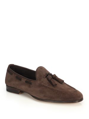 Burnett Suede Tassel Loafers by Santoni