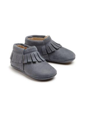 Babys Leather FringeTrim Booties