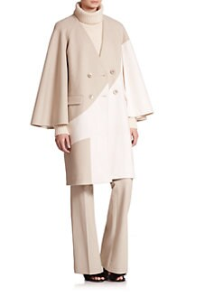 Tibi - Siku Cape Sleeve Two-Tone Wool Blend Coat