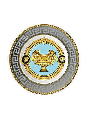 """Image of From the Prestige Gala Collection. Inspired by an iconic Versace print with imposing lions, this exquisite pattern features baroque elements over a Greek key motif, enriched with gold and platinum accents. 7""""W X 7""""H Porcelain Hand wash Imported. Gifts - T"""