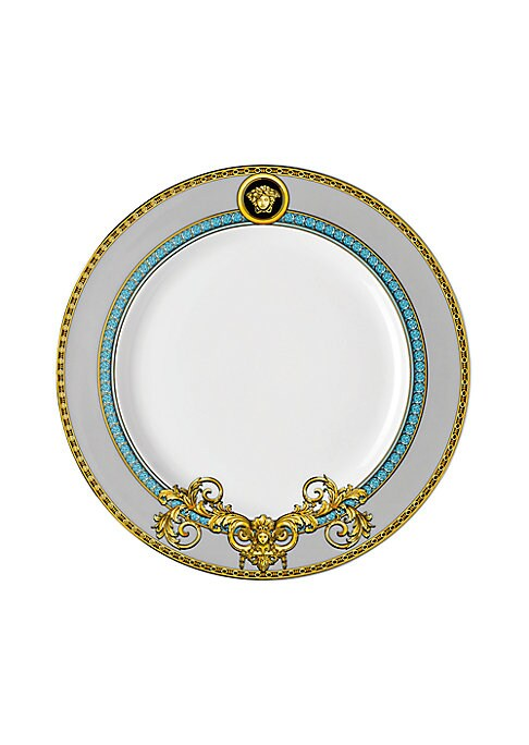 """Image of From the Prestige Gala Collection. Inspired by an iconic Versace print with imposing lions, this exquisite pattern features baroque elements enriched with gold and platinum accents.8.5""""W X 8.5""""H.Porcelain. Hand wash. Imported."""