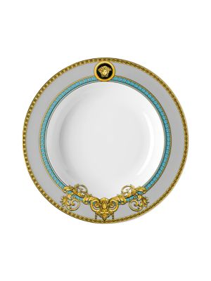 "Image of From the Prestige Gala Collection. Inspired by an iconic Versace print with imposing lions, this exquisite pattern features baroque elements enriched with gold and platinum accents.8.5""W X 8.5""H.Porcelain. Hand wash. Imported."