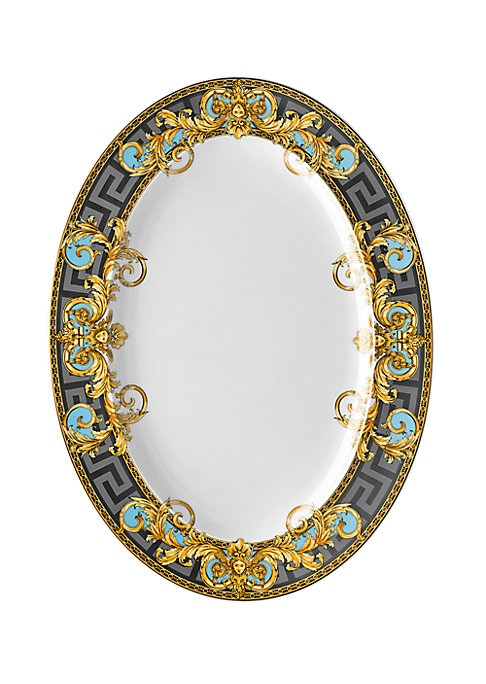 """Image of From the Prestige Gala Collection. Inspired by an iconic Versace print with imposing lions, this exquisite pattern features baroque elements over a Greek key motif, enriched with gold and platinum accents. Length, 15.75"""".Porcelain. Hand wash. Imported."""