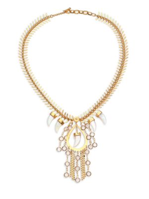 HOUSE OF LAVANDE Nihiwatu Mother-Of-Pearl & Crystal Fish Spine Bib Necklace in Gold