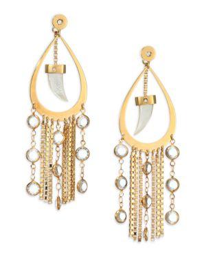 HOUSE OF LAVANDE Nihiwatu Mother-Of-Pearl & Crystal Double-Sided Fringe Teardrop Earrings in Gold