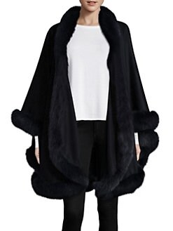 c1fbe7a1d QUICK VIEW. Sofia Cashmere. Dyed Fox Fur-Trimmed Cashmere Wrap