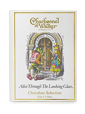 "Image of A twelve-piece selection of milk, dark and white chocolates in a rectangular book-box presentation box with an Alice Through The Looking Glass design. Includes 12 chocolates 5.5 oz. 4.5""W x 6""H x 1.5""D Shelf life: 182 days Made in UK. Drop Ship Prgrm - Fo"