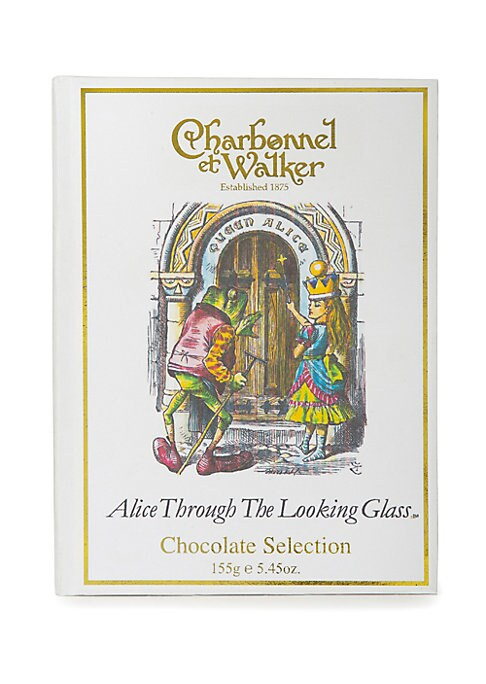 """Image of A twelve-piece selection of milk, dark and white chocolates in a rectangular book-box presentation box with an. Alice Through The Looking Glass. design. Includes 12 chocolates.5.5 oz.4.5""""W x 6""""H x 1.5""""D.Shelf life: 182 days. Made in UK."""