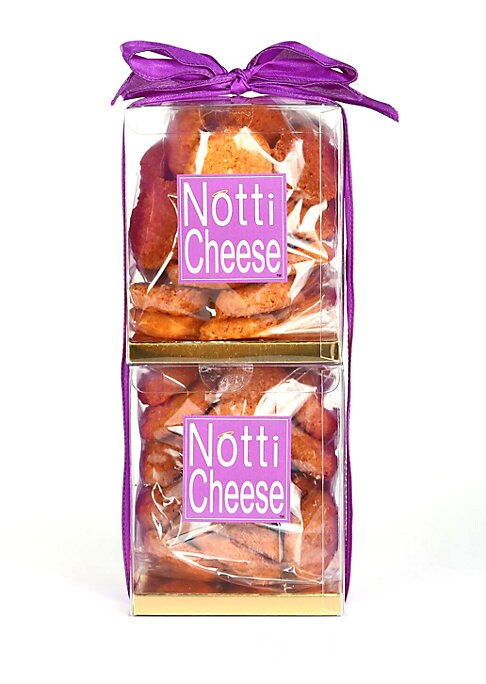 """Image of Two stacked boxes of crispy, spicy cheese wafers, made from four different aged cheeses and a hint of cayenne. Based on an old family recipe from the mountains of North Carolina and simply irresistible. Serves 25.1 lb. Shelf life: 6 months.4""""W X 9.5""""H X 4"""