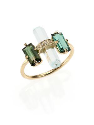 Green Tourmaline, Aquamarine, Diamond & 14K Yellow Gold Bar Ring, Gold Green