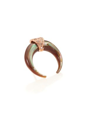 Abalone, Diamond & 14K Rose Gold Double Horn Single Stud Earring