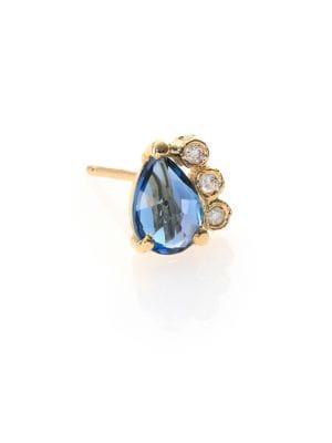 Blue Topaz, Diamond & 14K Yellow Gold Teardrop Single Stud Earring