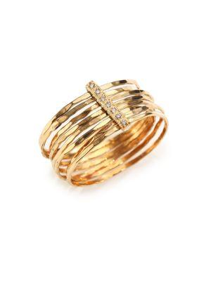 Diamond & 14K Yellow Gold Hammered Bar Ring