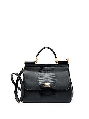 792ad25752a Dolce & Gabbana - Medium Miss Sicily Lizard-Embossed Leather Top-Handle  Satchel - saks.com