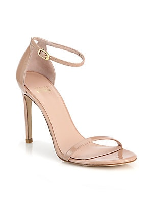 8bc3525e026 Stuart Weitzman - Nearlynude Patent Leather Block Heel Sandals ...